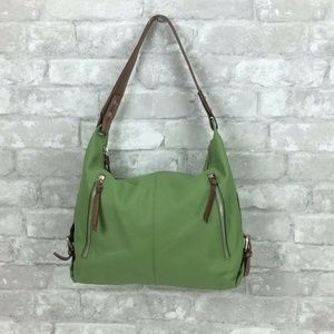 Nino Bossi Leather Purse Green Pebbled Leather